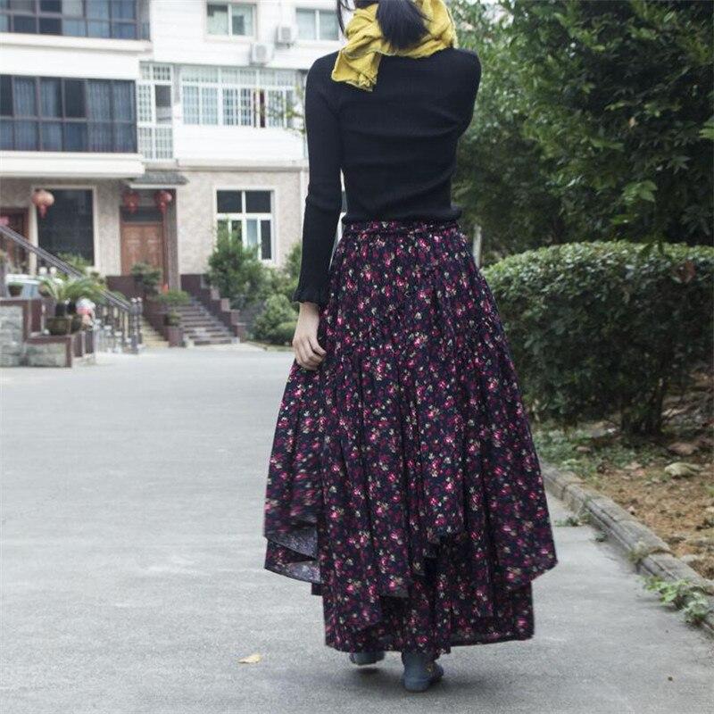 Women Ethnic style cotton linen Long Skirts Elastic Waist Floral print Maxi Skirts Vintage autumn winter Female irregular Skirts 1