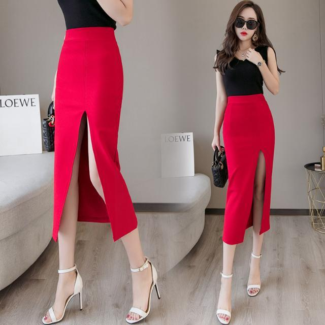 2020 Summer Women Long Skirt Casual Wrap Female Sexy Split High Waist Midi Skirt Office Party Ladies Elegant Plus Size 5XL F22 2