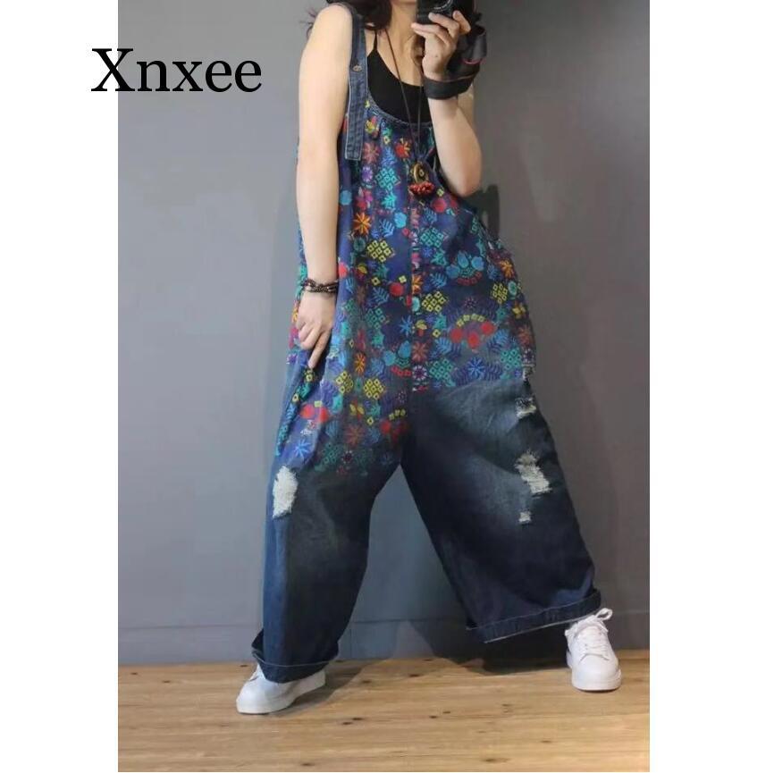 Women Denim Overalls Print Floral Vintage Plus Size Casual flower print Ripped Hole Wide Leg Jumpsuit Ladies Jeans Romper loose 1
