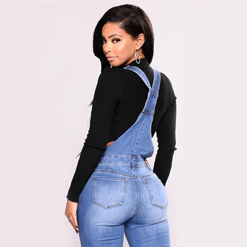 UGOCCAM Women Denim Overalls Jeans Bib Female Plus Size Slimming Denim Stretch Rompers Skinny Jeans Salopette vaqueros 3XL 4