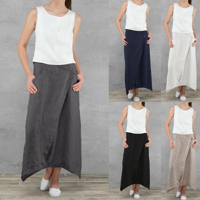 Summer Women Linen Long Skirts Casual Loose High Waist Maxi Skirts Asymmetrical Hem Skirt Jupe Saia Femme Plus Size