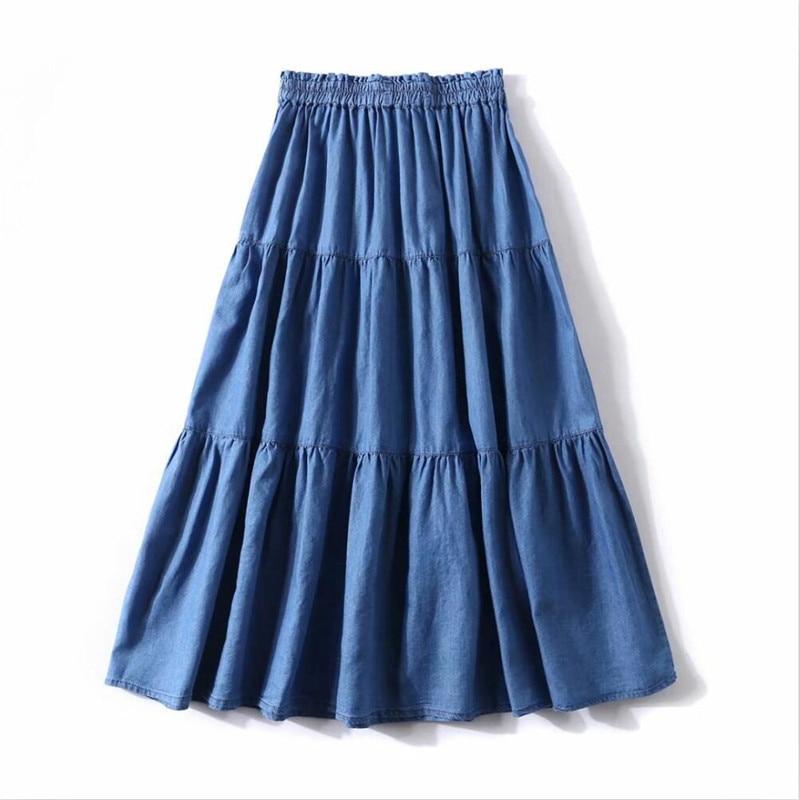 2020 Summer Solid Color Korean Style Women Long Skirts Loose Ruffles Denim Skirts High Elastic Waist Slim Skirts Plus Size M-7XL 2