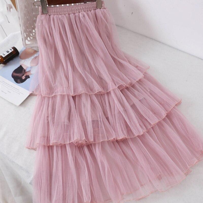 Women Sweet Chiffon Casual Long Skirt Female Preppy Style Students High Waist Skirts Pleated A-line Floor-Length Skirts 2