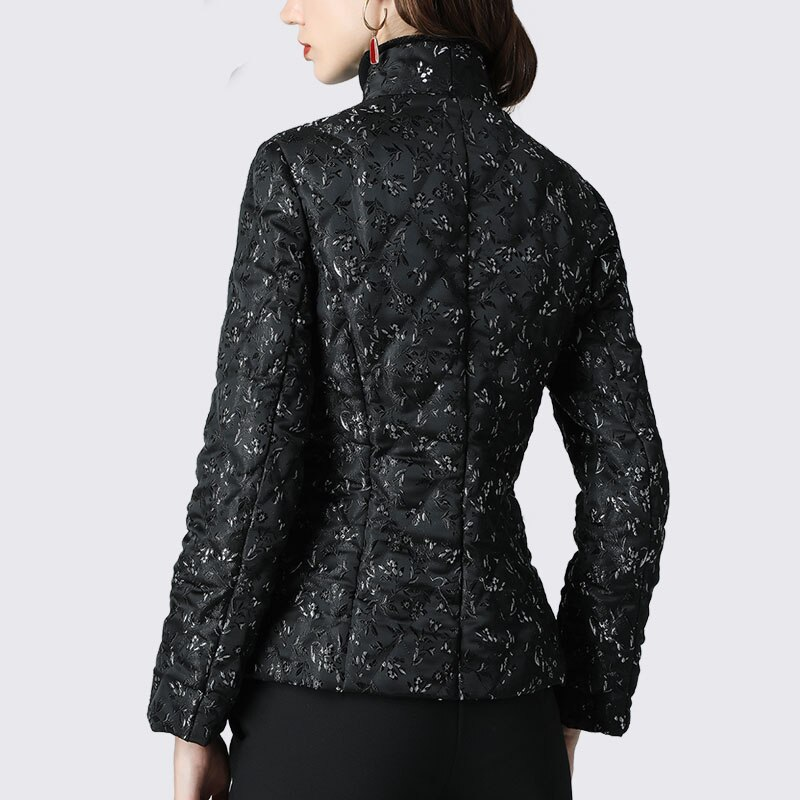 Women' Down Jacket Elegant Floral Printed Black Slim Short Duck Down Coats Warm Thicken Lightly 2019 Winter Puffer Down Jackets 3