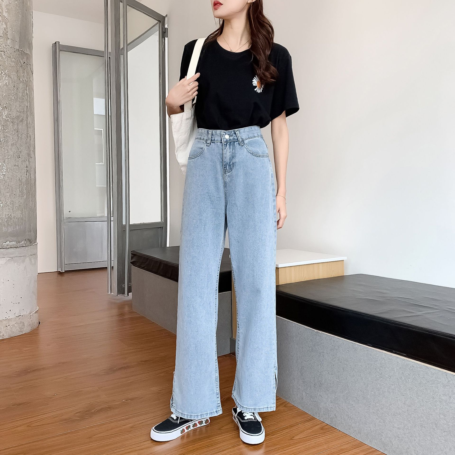 GoneGoing 2020 Summer Women High Split Denim Pants Straight Wide Leg Plus Size Full Length Jeans 070706 1