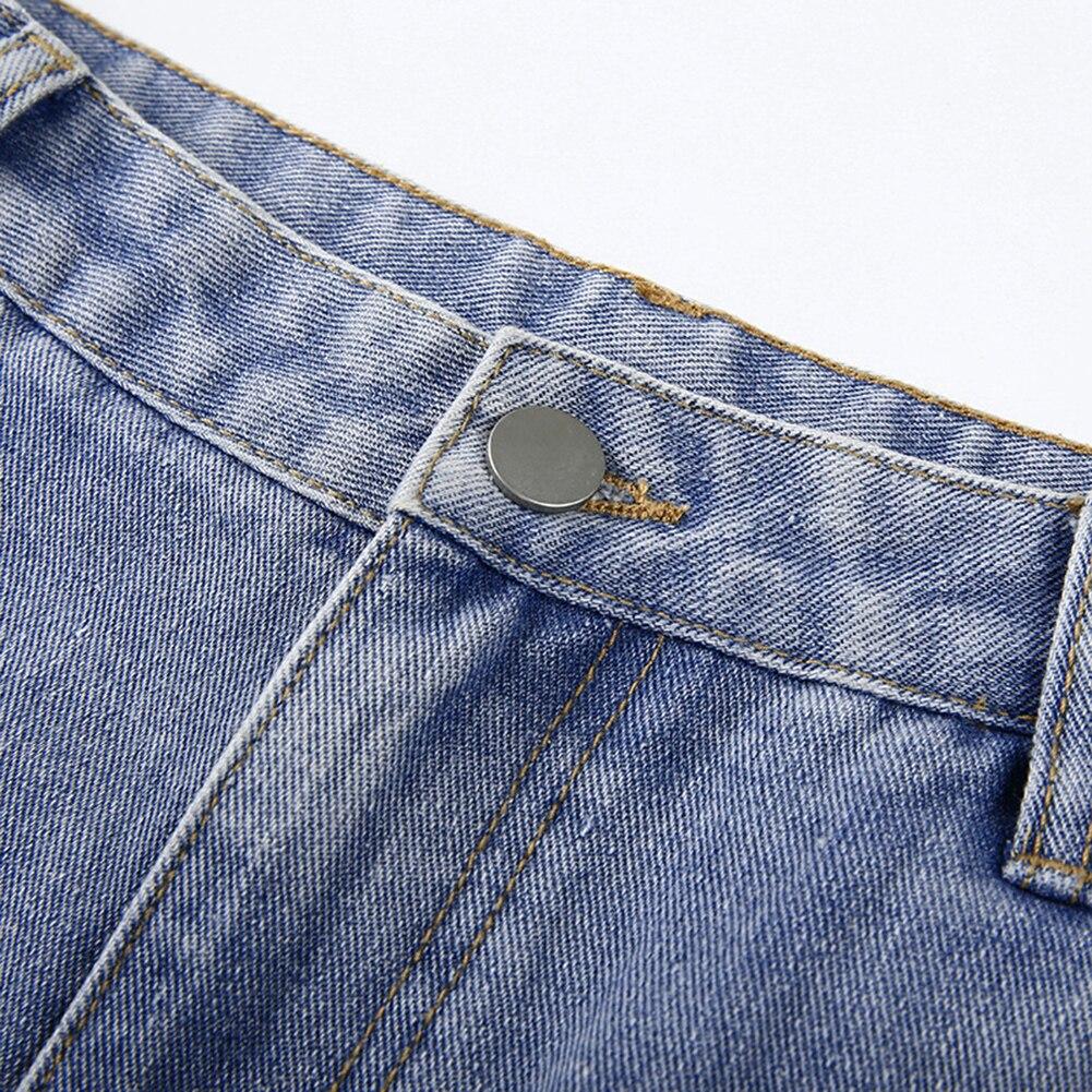 Pockets Patchwork High Waist Jeans Women Streetwear Straight Jean Femme Blue 100% Cotton Cargo Pants 2020 In Stock HX0421 4