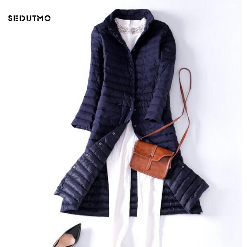 SEDUTMO 2018 Spring Ultra Light Womens Down Jackets Long Duck Down Coat Winter Puffer Jacket Slim Black Parkas ED225 1