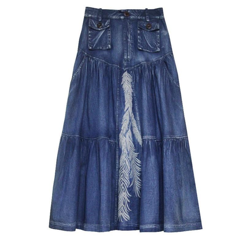 Women's Denim Skirt 2020 Vintage Women A line Embroidery Skirts Patch Pocket Saia Feminina Long Girl's Skirt 4