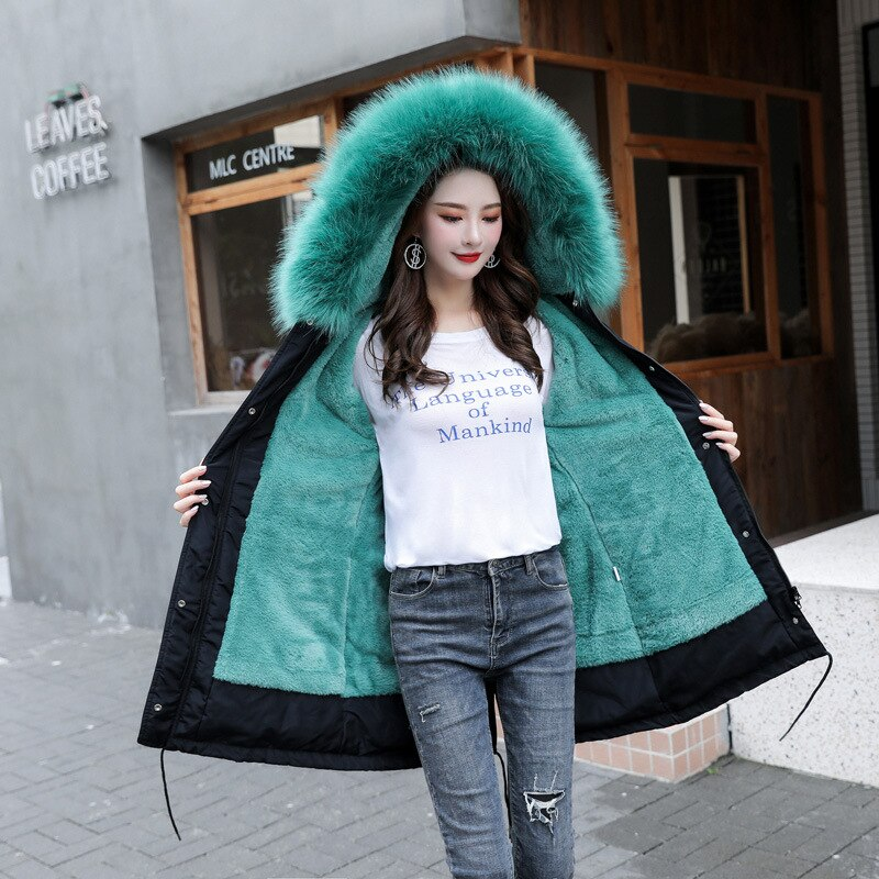 New Arrival Women Autumn Winter Jacket Cotton Lining Padded Warm Big Fur Collar Long Coats Parka Womens Jackets Office Lady 3