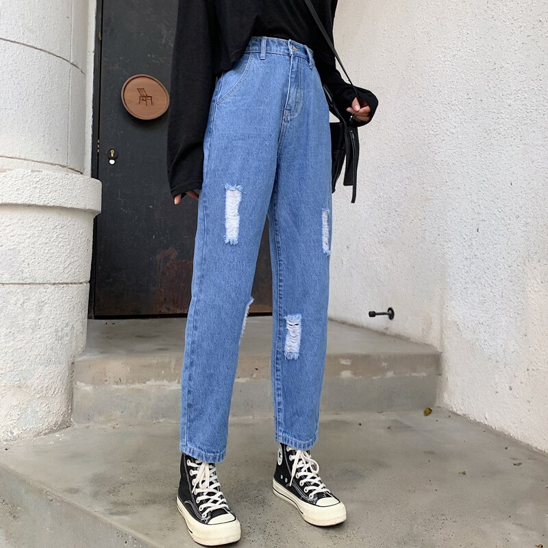 Ripped Mom Jeans High Waist Straight Jeans For Women Wide Leg Denim Pantalon Jambe Large Femme Distressed Jeans Pants 2020 New 1