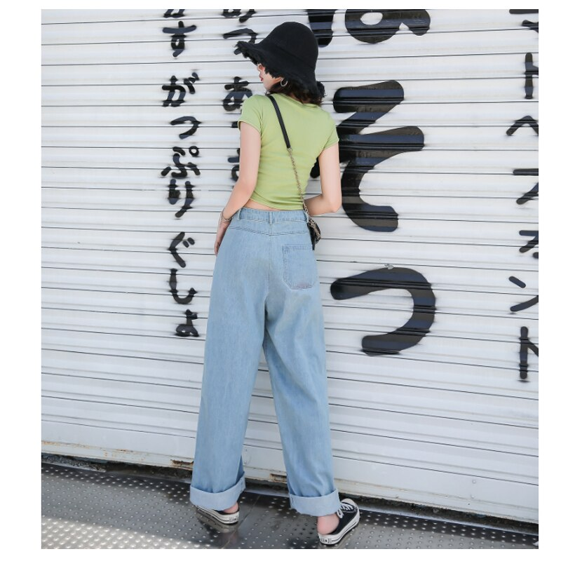 Vintage Washed Korean Long High Waisted Wide Leg Jeans For Women Cartoon Print Baggy Straight Jeans Female Loose Boyfriend Jeans 3