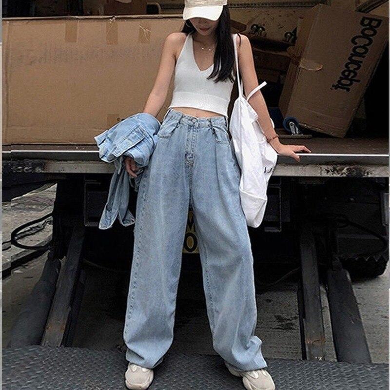 Fashion Loose Womens Jeans Harajuku-Style High-Waist Jeans Korean-Style Wide-Leg Straight Jeans Women 3