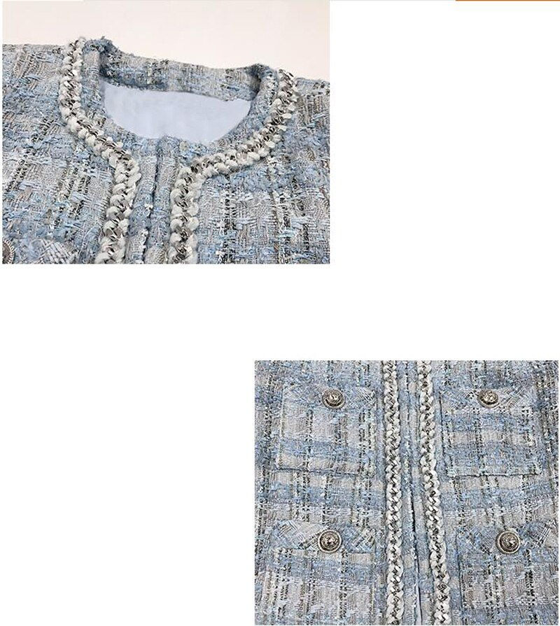Tweed Fashion 2020 Koreans Women Coat Vintage O-Neck Long Sleeve Sliver Button Slim Woman Jacket Outerwear Chic Tops 2