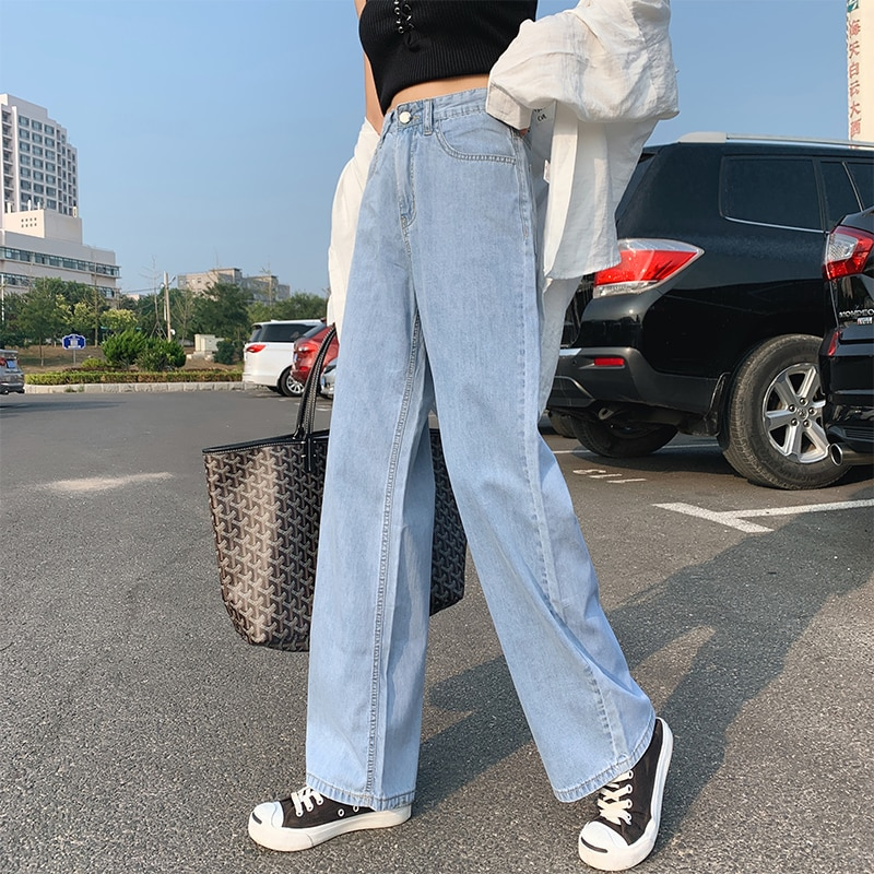 Women Fashion Spring and Autumn Wide Leg Jeans Straight Stretch Thin Korean Version Large Size High Waist Jeans Full-length blue 3