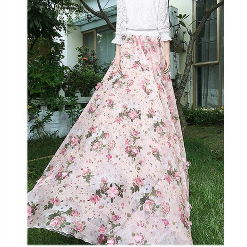 2020 Summer Woman New Large Plus Size 6XL 7XL 8XL Female Fashion Pink Chiffon Lace Polka Dot Floral Long Female skirt for Womens 3