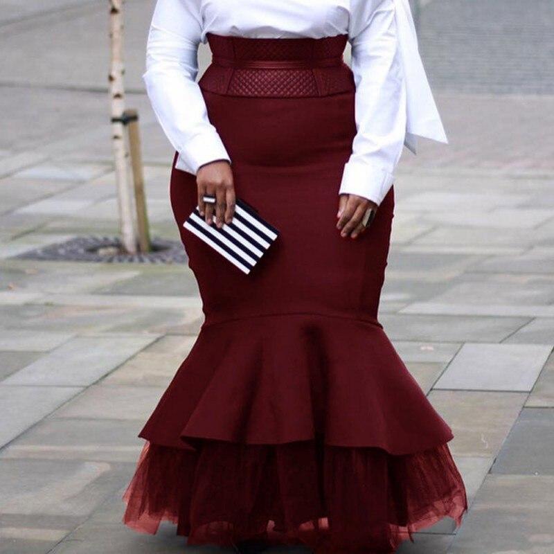 4XL 5XL Plus Size Skirts 2020 Autumn Winter Women Long Skirts Vintage Evening Party African Ladies Mesh Patchwork Mermaid C