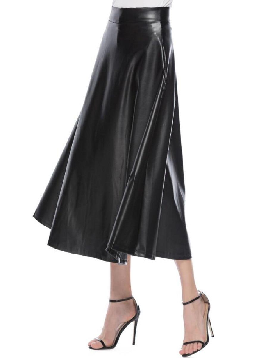 Winter Pu Leather Skirt Women Maxi Long Skirts Womens High Waist Slim Autumn Vintage Pleated Skirt Black Xl Xxl 2