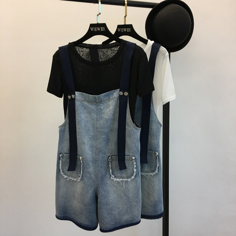 New Women Denim Shorts Overalls Fashion Female Casual Loose Slim Pockets Straps Jeans High Waist Large Size 4XL 5XL M66