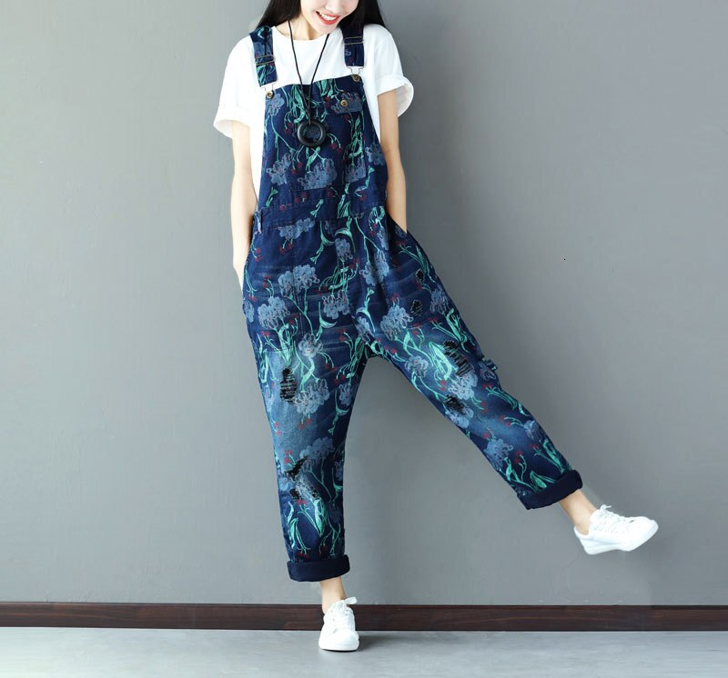 #0349 Suspender Jumpsuits Women Vintage Loose Denim Overalls For Women Sleeveless Ladies Jeans Jumpsuits Printed Fashion 3