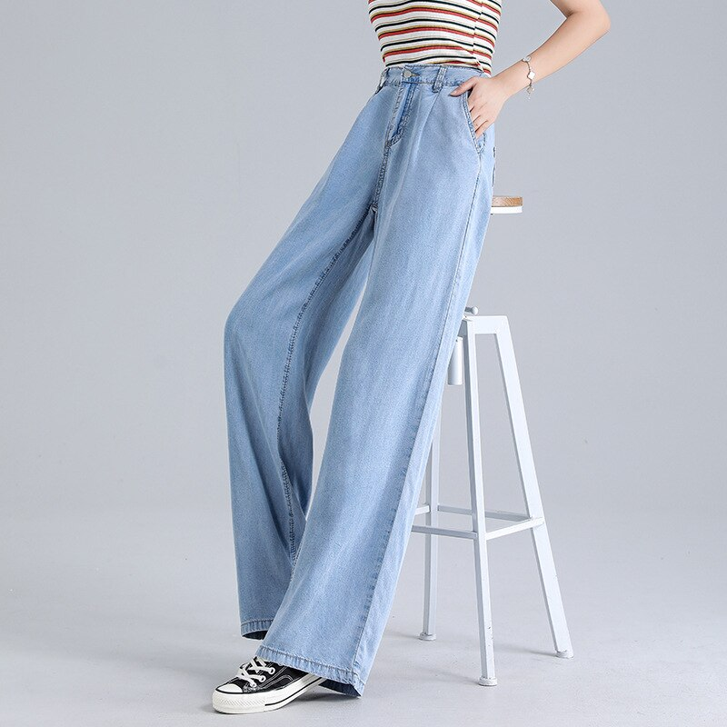 Woman Baggy Jeans High Waist Slim Thin Loose Straight Tencel Wide Leg Pants Mom Jeans Fall 2020 Women Cargo Pants Women 2