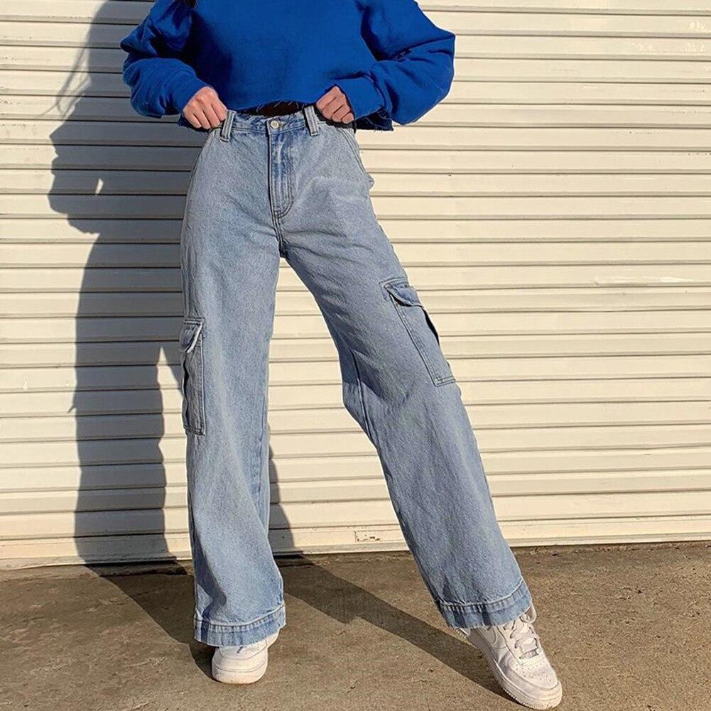 Pockets Patchwork High Waist Jeans Women Streetwear Straight Jean Femme Blue 100% Cotton Cargo Pants 2020 In Stock HX0421
