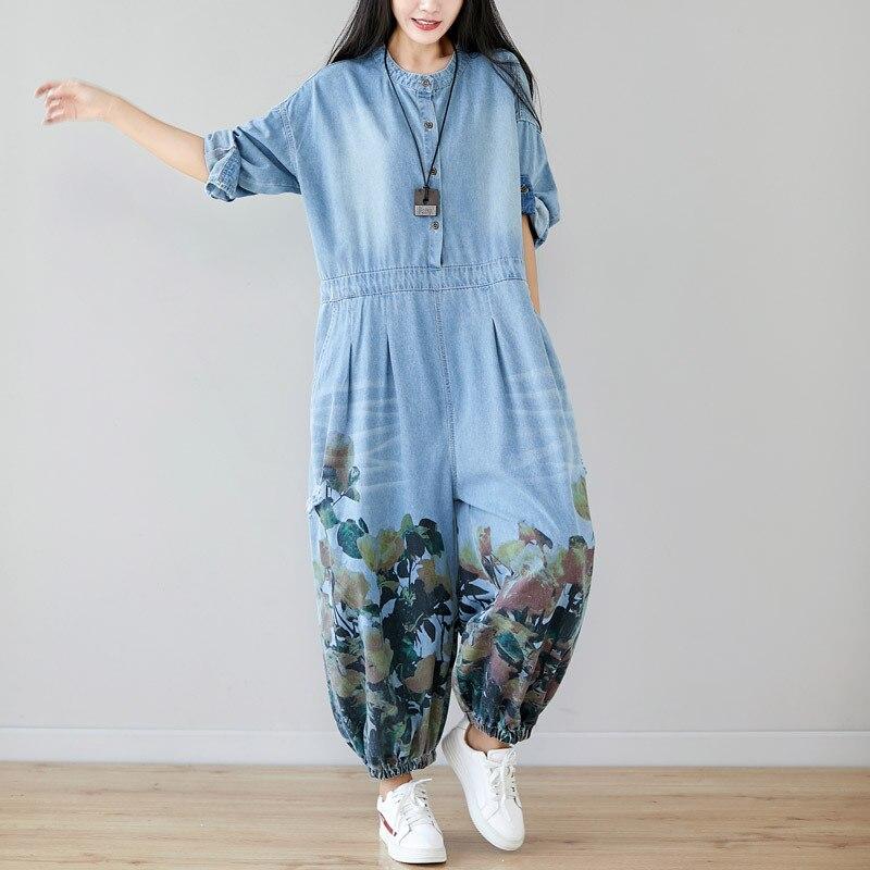Plus Size Jeans Woman High Waist Long Sleeves Rompers Womens Jumpsuit Cotton Denim Overalls O-neck Print Loose Pantalon Femme
