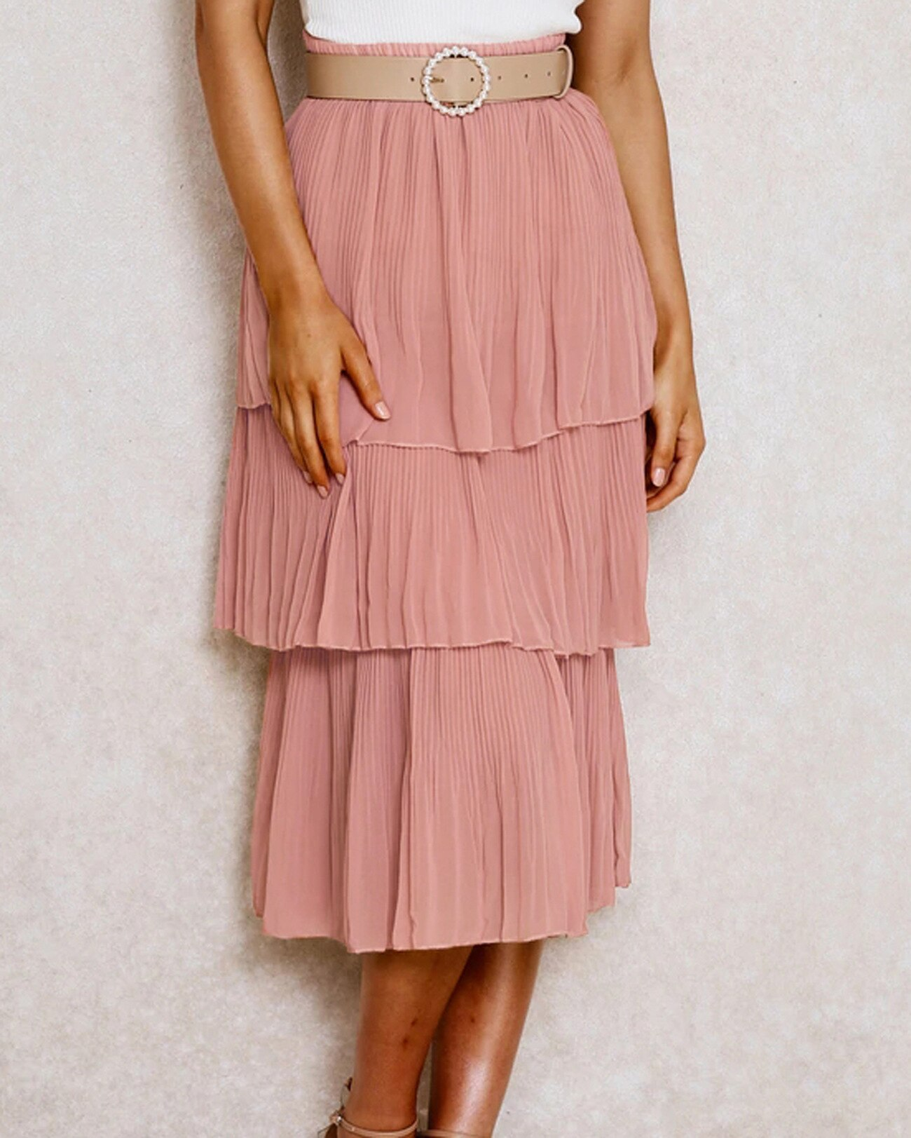 Women 3 Layered Long Skirt Pink White Korean Style Skirts Womens Summer Pleated Skirt Chiffon Layer Cake Sun Skirt Female 1