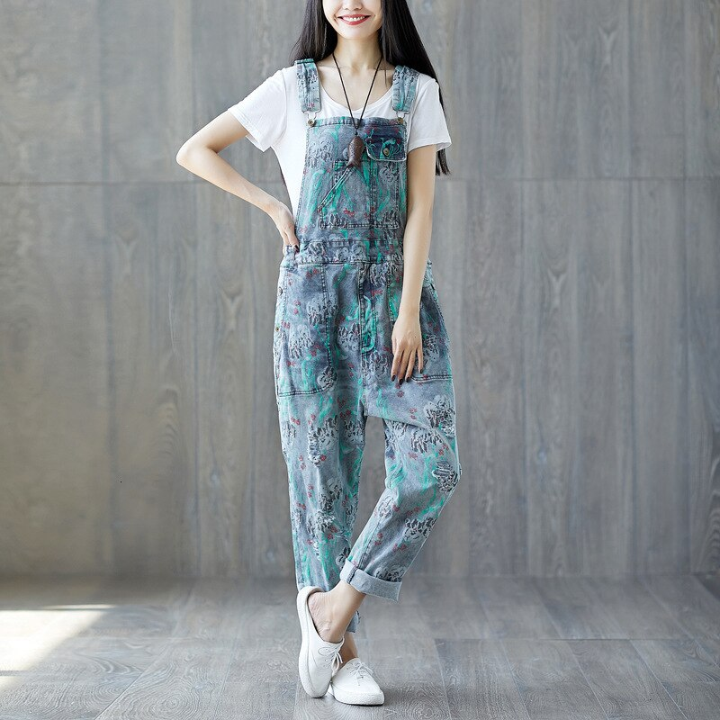 #0349 Suspender Jumpsuits Women Vintage Loose Denim Overalls For Women Sleeveless Ladies Jeans Jumpsuits Printed Fashion