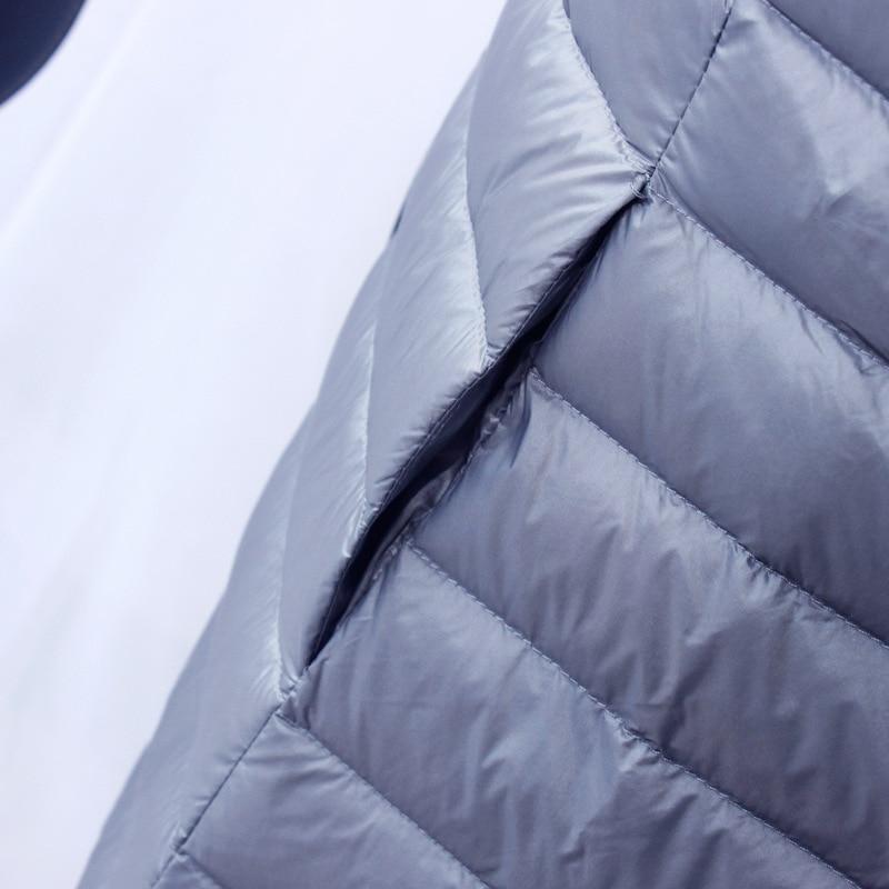 New 2020 Women Down Jacket Ultra Light White Duck Down Long Coat Slim O-Neck Warm Inner Bottoming Garment 2
