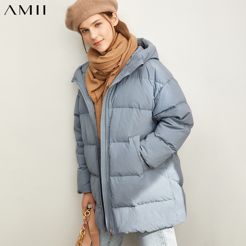 Amii Fashion Women Down Jacket Casual Solid Loose Hooded Zipper Female Thick Down Coat 11930381 1
