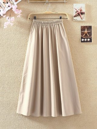 Lengthy Skirts Classic Cotton And Linen Excessive Waist