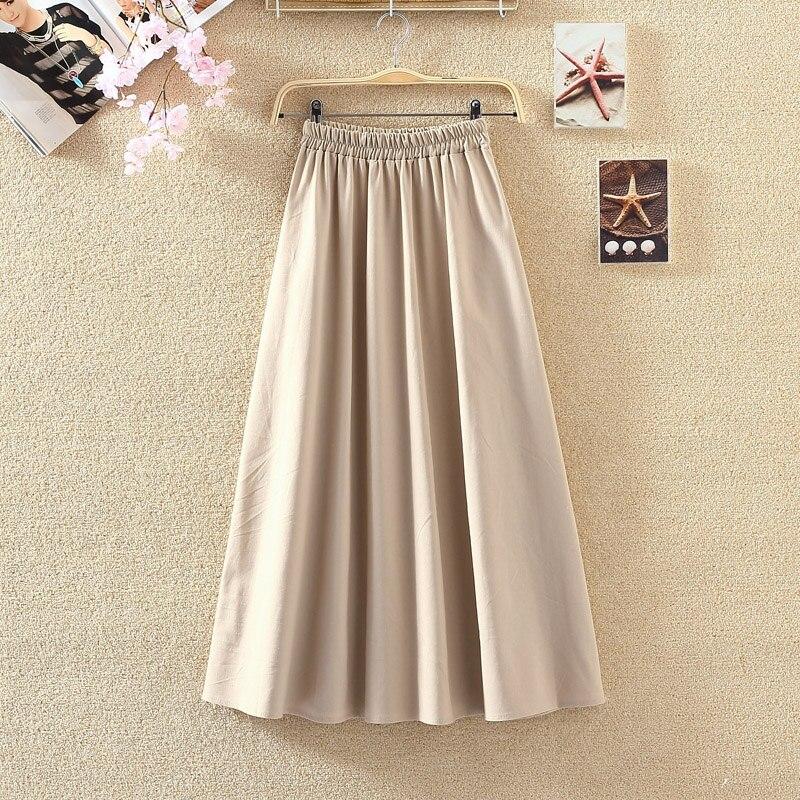 Summer Women Long Skirts Vintage Cotton And Linen High Waist Women Skirts Saia Summer Skirt Womens Jupe Femme Saias Faldas