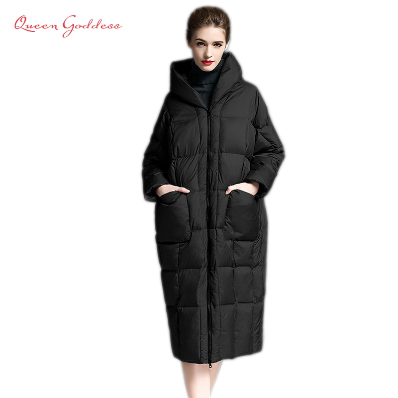 2020 Winter casual loose Cocoon Jacket Thick&Long sleeve hooded with Parkas winter women down jacket S-7XL big pocket 1