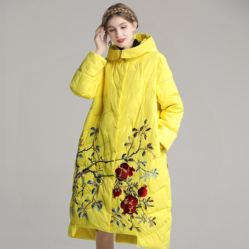 Winter White Duck Down Down Coat Chinese Style Embroidery Flower Hooded Fashion Loose Women's down jacket Plus Size 2XL-4XL 1