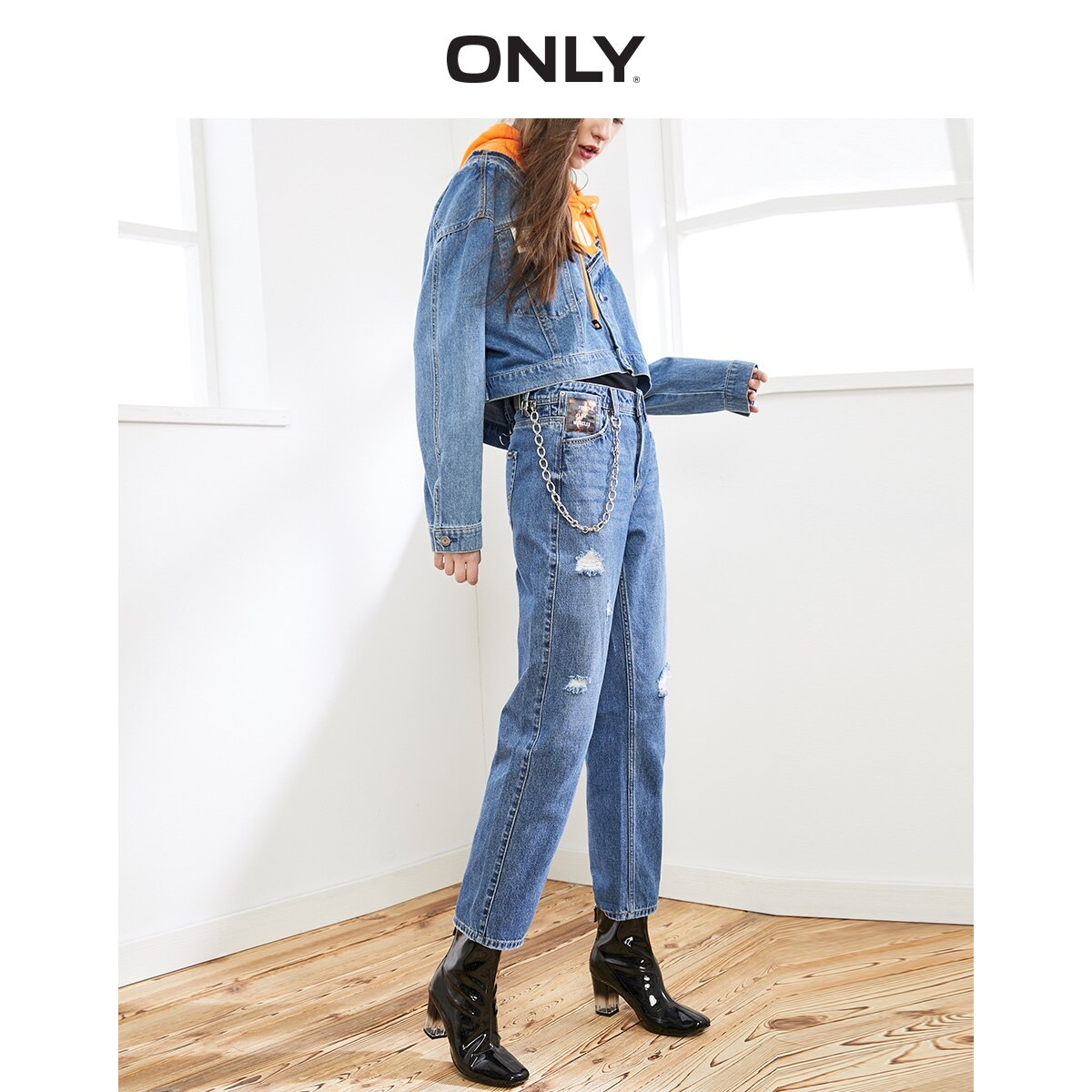 ONLY Women's Loose Straight Fit Ripped Low-rise Crop Jeans |119449517 1