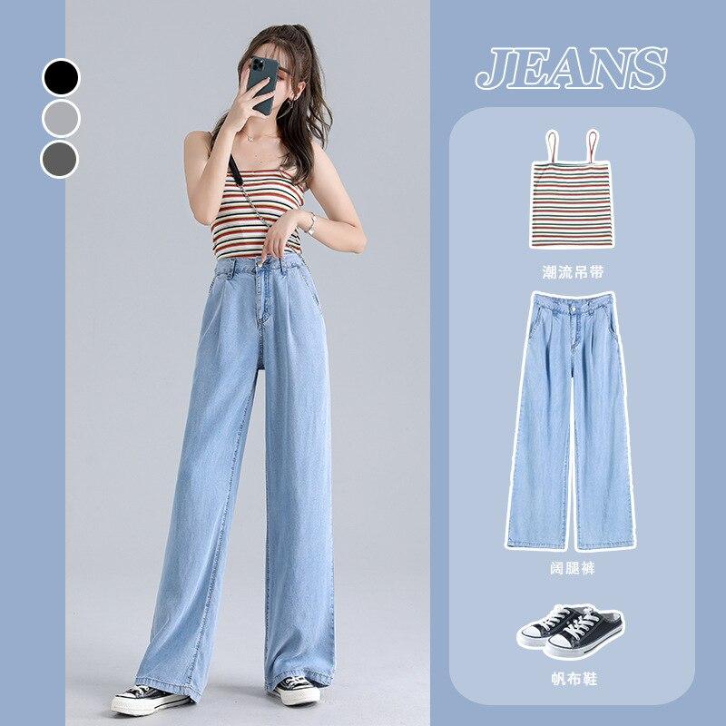 Woman Baggy Jeans High Waist Slim Thin Loose Straight Tencel Wide Leg Pants Mom Jeans Fall 2020 Women Cargo Pants Women