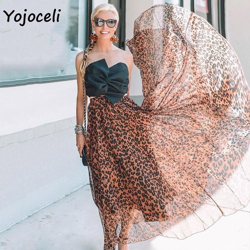 Yojoceli leopard chiffon skirt bottom women long skirt streetwear boho female skirt print skirt bottom 2