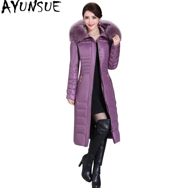 AYUNSUE 2020 Winter Duck Down Jacket Women Long Slim Coat Female Womens Down Jackets With Real Fur Collar Plus Size 5XL WYQ800 1