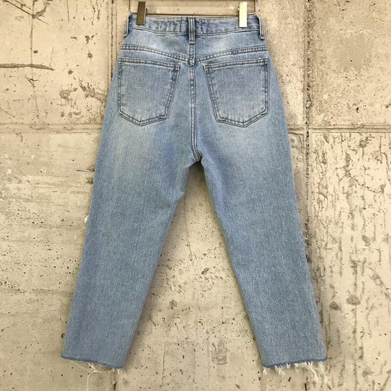 Irregular Holes Vintage High Waist Straight Jeans Pant Women Streetwear Loose Female Denim Jeans Buttons 7 Points Jeans 4