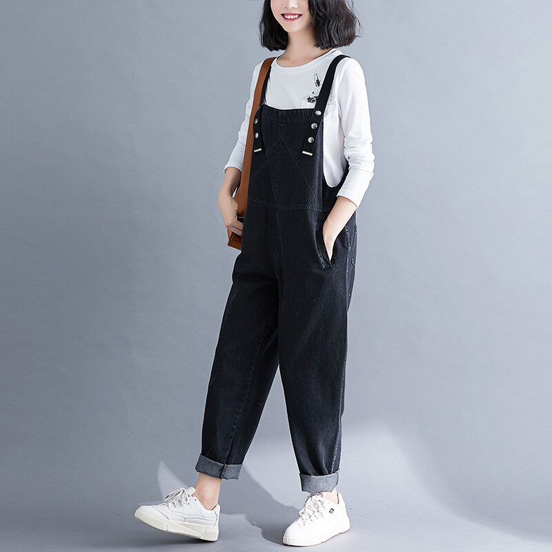 Spring Summer Women's Overalls Jeans New Large Size Black Denim Jumpsuit Loose Suspenders Jeans Casual Female Trousers Rompers 3