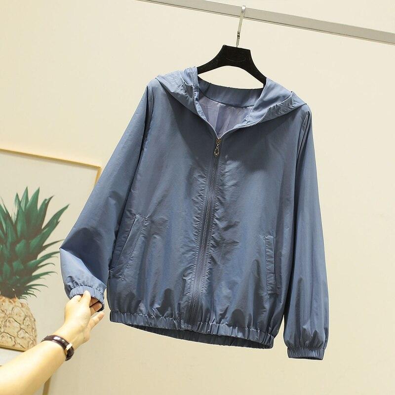 2020 AutumnJackets Women Basic Causal Solid Hooded Jacket Zipper Windbreaker Lightweight Women Hooded Jacket Coat veste femme 3