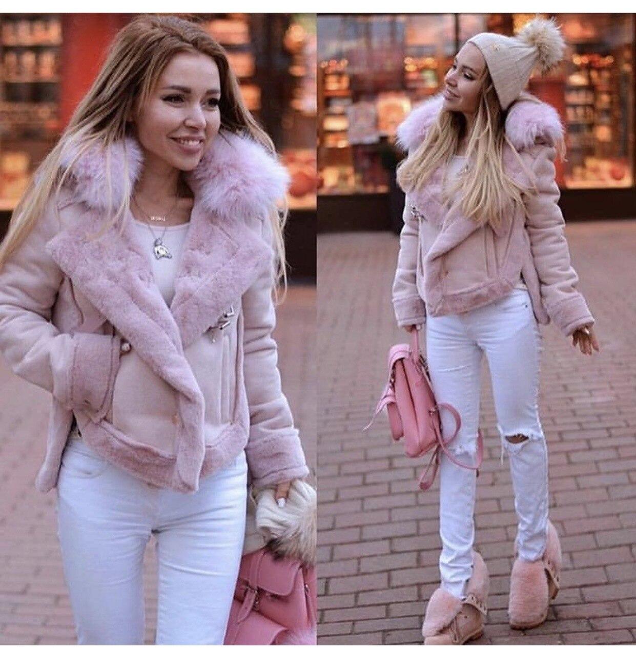Winter Women Jacket Artificial Wool Leatherette Female Wadded Coat Warm Slim Fleece Thicken Mujer Jacket Fur Neck Women Top