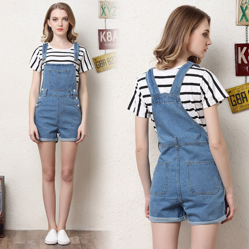 QMGOOD Summer Women Denim Overalls Fashion Playsuit Dungarees High Waist Jumpsuit Girls Short Jeans Blue Shorts Jumpsuits Female 1