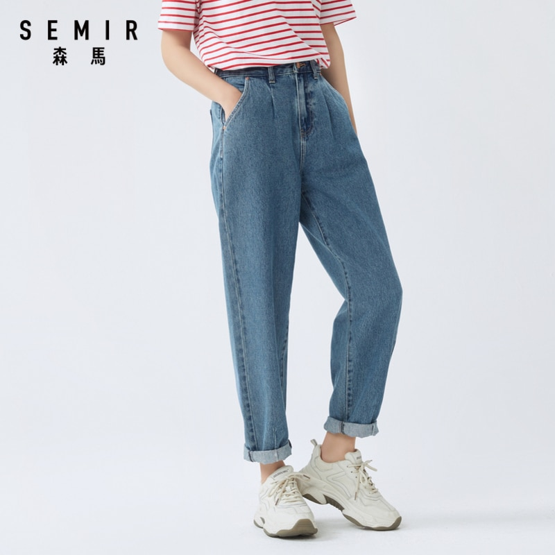 SEMIR Women cotton jeans 2020 summer new loose high waist demin pants trend straight simple ladies casual jeans for travel 4