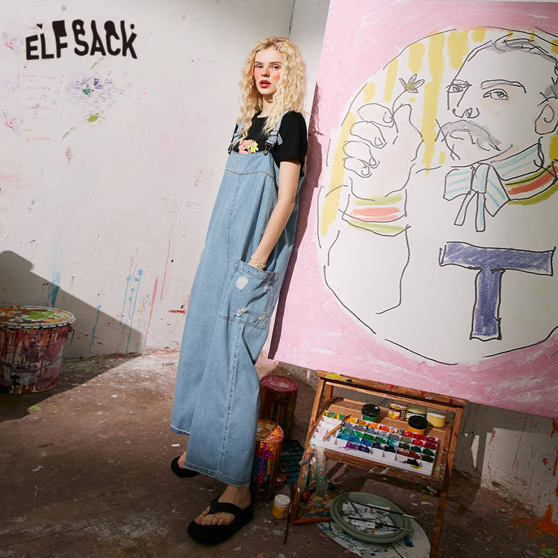 ELFSACK Blue Solid Ripped Hole Straight Casual Women Overall Denim Jeans 2020 Summer ELF Pocket Korean Ladies Daily Jumpsuits 3