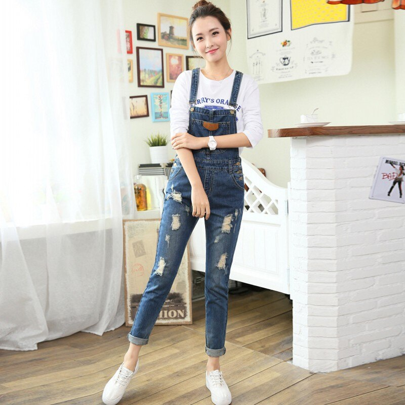 Womens Jumpsuit Denim Overalls Autumn Winter Casual Ripped Hole Loose Pants Ripped Pockets Jeans Washed Fashion Rompers 3