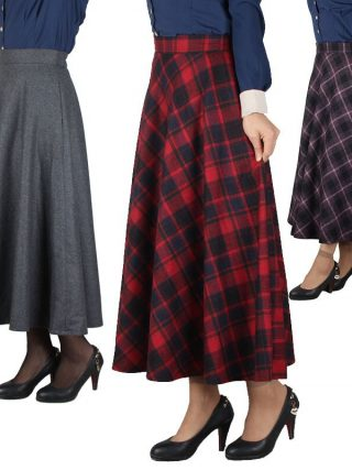 Skirt Ladies Lengthy Tartan Umbrella Autumn Elegant
