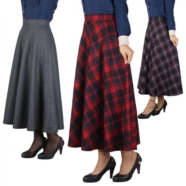 Skirt Ladies Lengthy Tartan Umbrella Autumn Elegant
