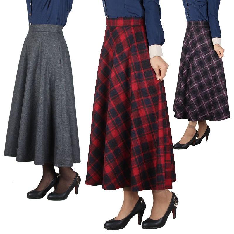 Plaid Skirt Women Long Skirt British Style Woolen Plaid Skirts Spring Vintage Wool Tartan Umbrella Autumn Elegant Female Skirts