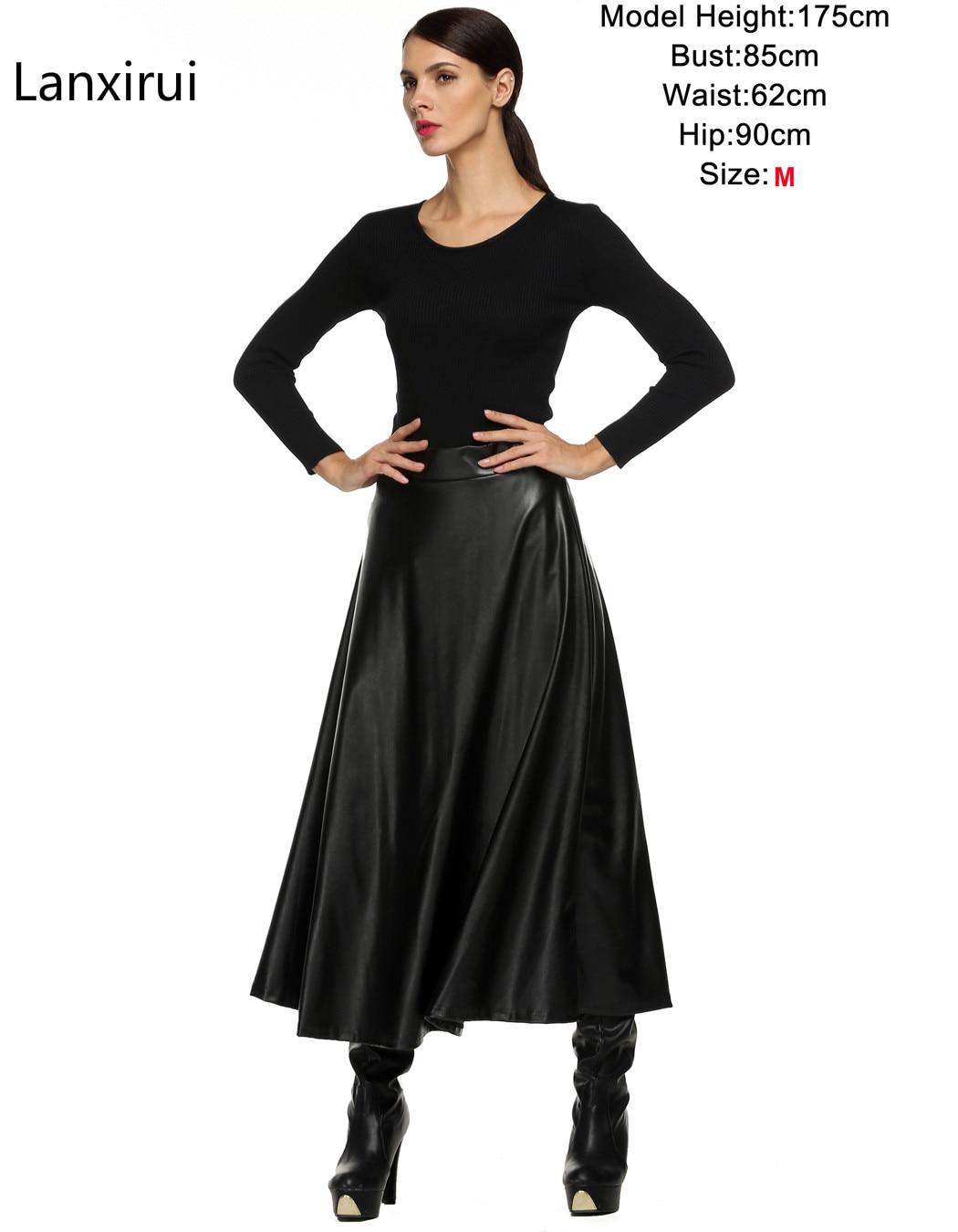 Winter Pu Leather Skirt Women Maxi Long Skirts Womens High Waist Slim Autumn Vintage Pleated Skirt Black Xl Xxl 4